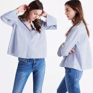 Madewell Blue & White Striped Bell Sleeved Blouse